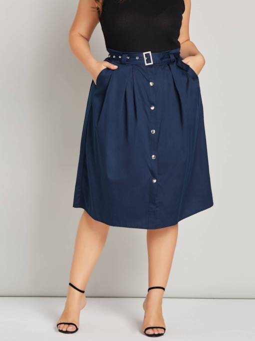 Plus Size Button Front Belt Pocket Women's Skirt
