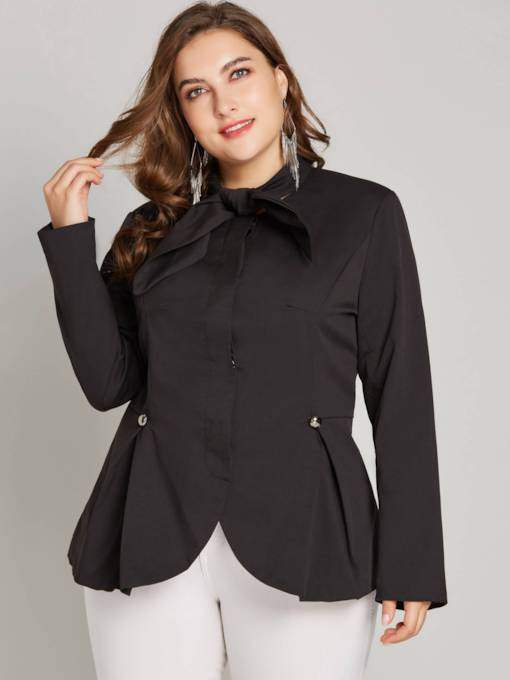 Plus Size Tie Neck Irregular Hem Peplum Women's Blazer