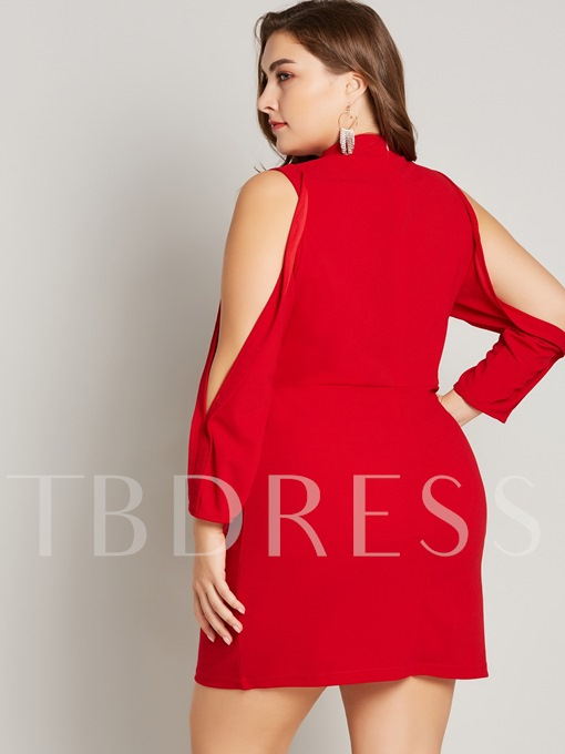 Christmas Plusee Stand Collar Hollow Women's Long Sleeve Dress