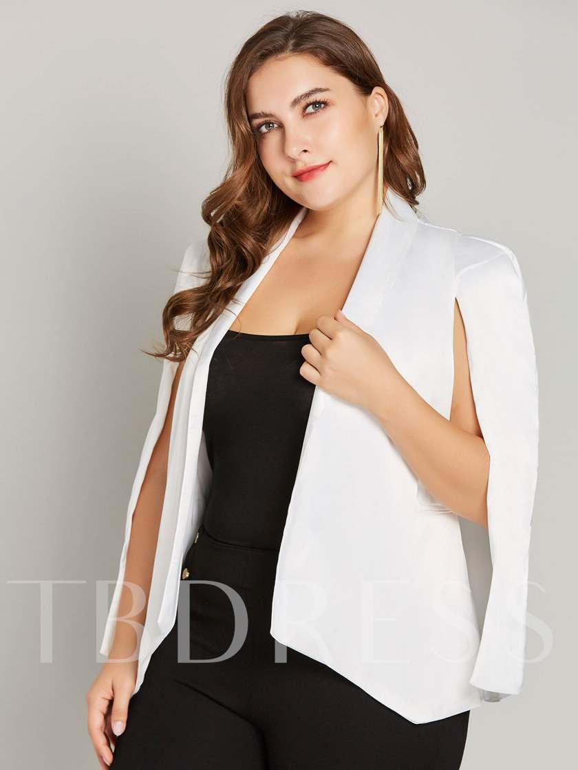 Asymmetric Solid Color Open Front Plus Size Women's Cape Blazer