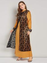 Plus Size Long Sleeves Stand Collar Lace Women's Maxi Dress
