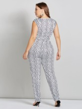 Plus Size Geometric Print V Neck Tie Waist Women's Jumpsuit