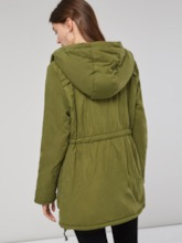 Army Green Drawstring Dual Pocket Women's Cotton Padded Jacket