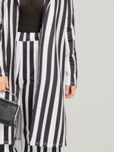 Plus Size Stripe Lapel Color Block Blazer and Pants Women's Suit