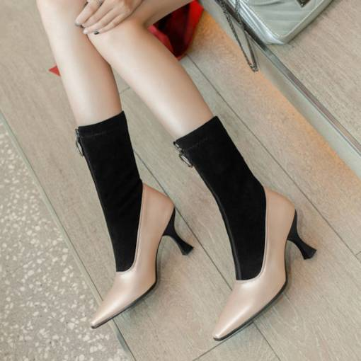 Front Zipper Stiletto Heel Patchwork Pointed Toe Vogue Mid Calf Boots