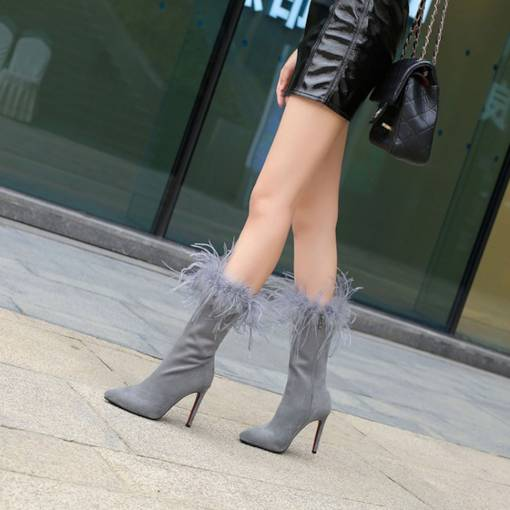 Side Zipper Stiletto Heel Pointed Toe Unique Feather Mid Calf Boots