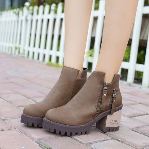 Chunky Heel Round Toe Platform Side Zipper Casual Ankle Boots