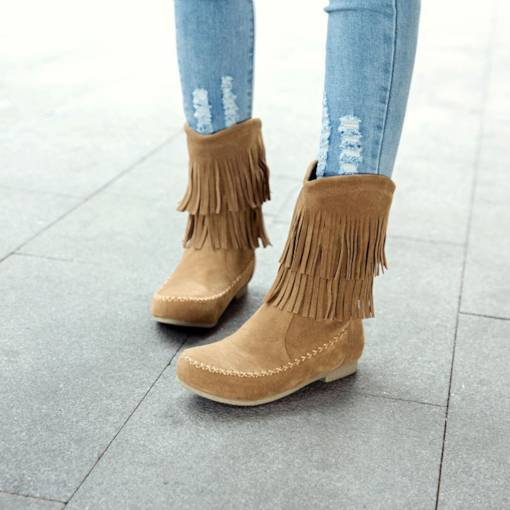 Round Toe Block Heel Fringe Slip-On Flat Women's Ankle Boots