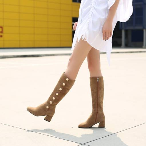Suede Side Zipper Round Toe Chunky Heel Women's Knee High Boots