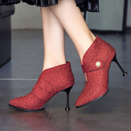 Velcro Spool Heel Pointed Toe Trendy Women's Ankle Boots