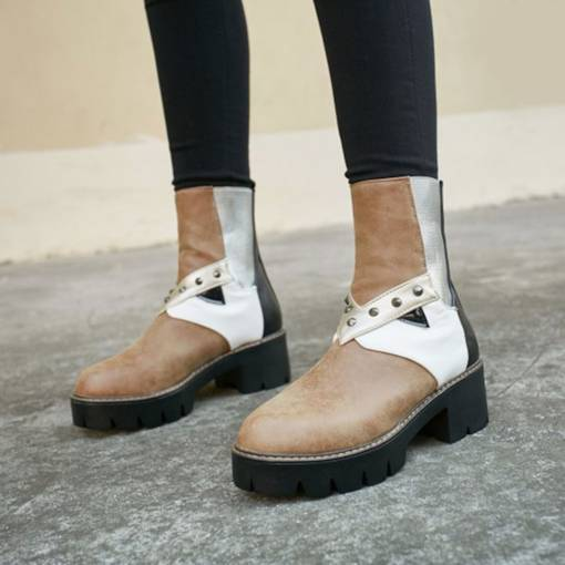 Round Toe Slip-On Color Block Chunky Heel Rivet Chic Ankle Boots