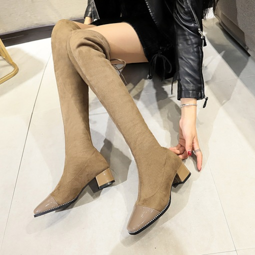 Suede Square Toe Lace-Up Back Chunky Heel Stylish Knee High Boots