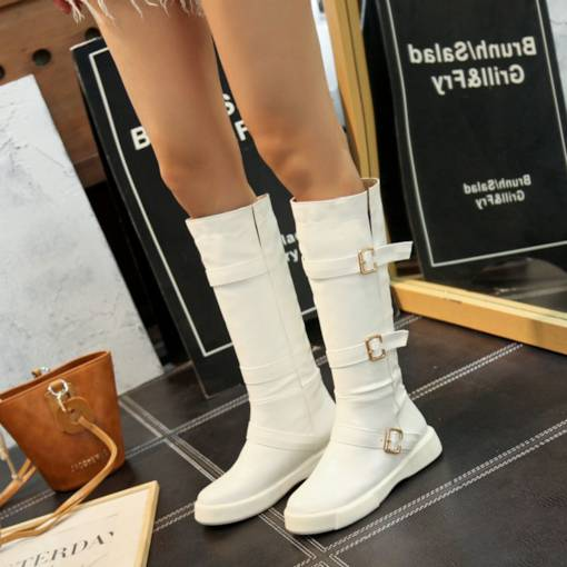 Round Toe Slip-On Buckle Casual Women's Knee High Boots