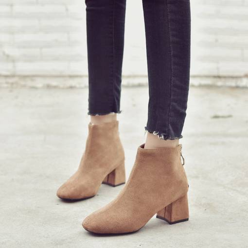 Square Toe Chunky Heel Suede Back Zip Comfy Women's Ankle Boots