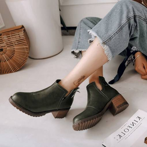 Round Toe Chunky Heel Back Zip Sewing Plain Women's Ankle Boots