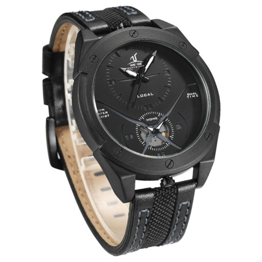 Chic Multiple Time Zone Quartz PU Men's Watch