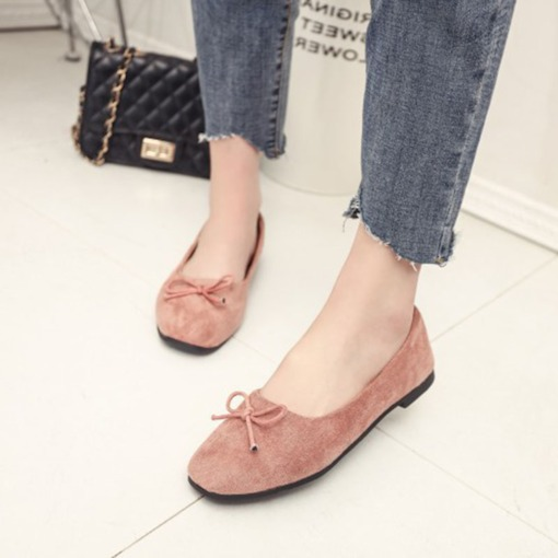 Suede Slip-On Square Toe Bow Low-Cut Upper Ladylike Women's Flats