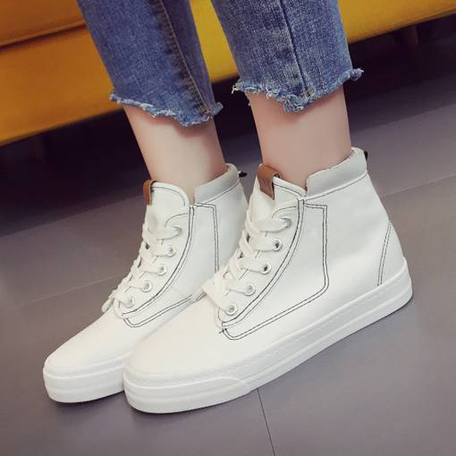 Round Toe Thread Lace-Up High Top Canvas White Sneakers