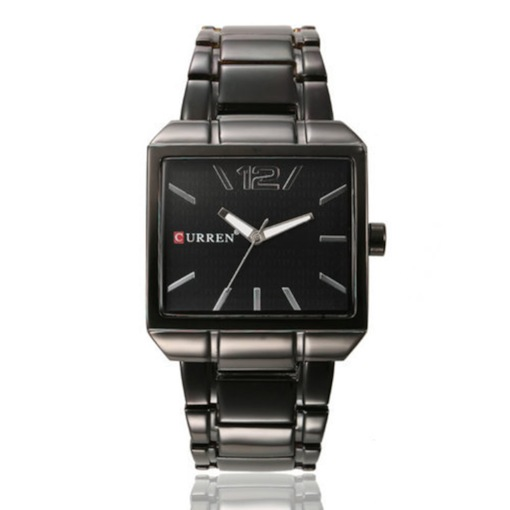 Square Shape Stainless Steel Band Classic Business Men's Watch