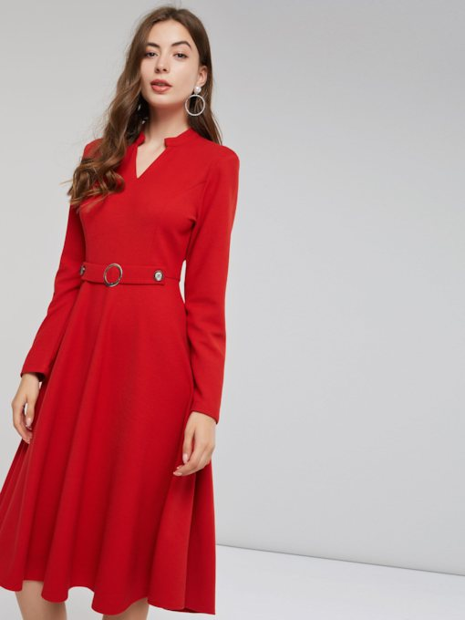 Christmas Red V-Neck Belt Women's Long Sleeve Dress