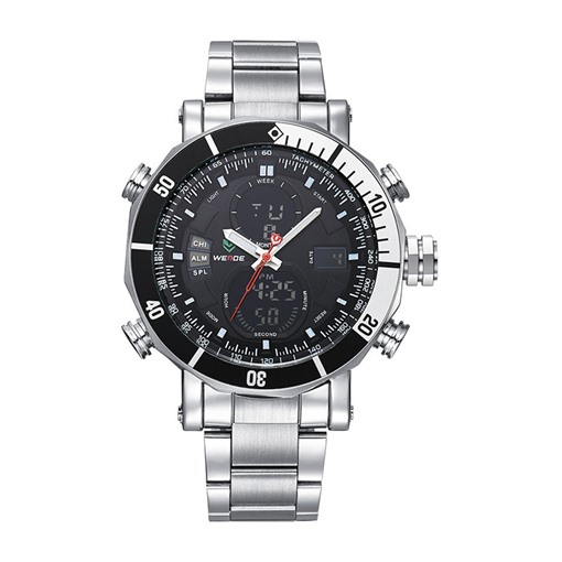 Analog-Digital Dial Glass Surface Stainless Steel Men's Watch