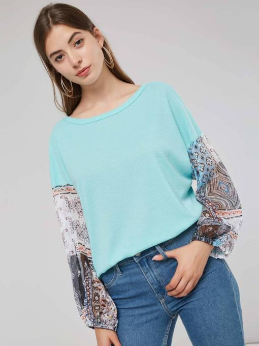 Scoop Neck Chiffon Patchwork Lantern Sleeve Women's Sweater