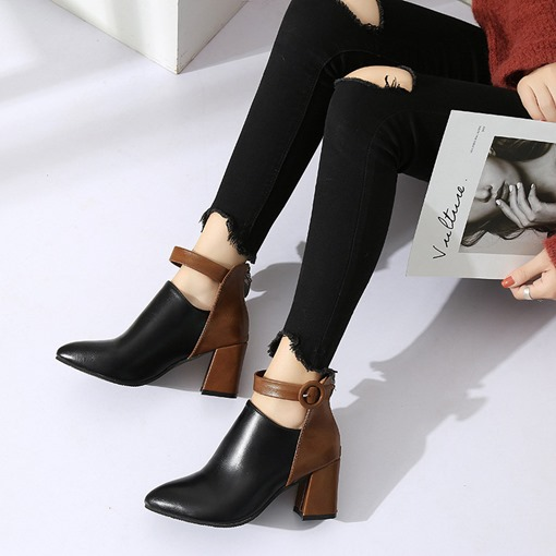 Pointed Toe Chunky Heel Back Zip Color Block Women's Ankle Boots