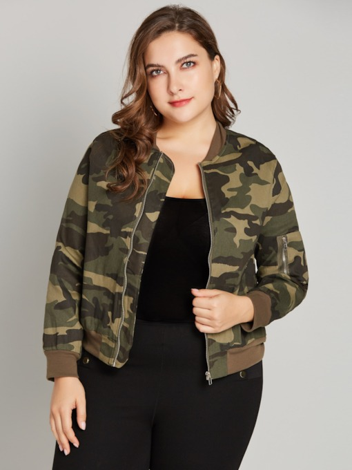 Army Green Plus Size Worn Zipper Up Women's Jacket