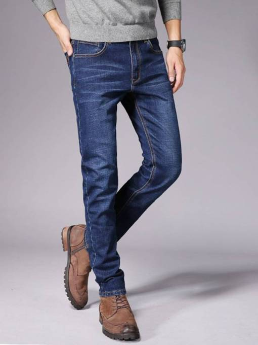 Casual Slim Plain High Waist Men's Jean