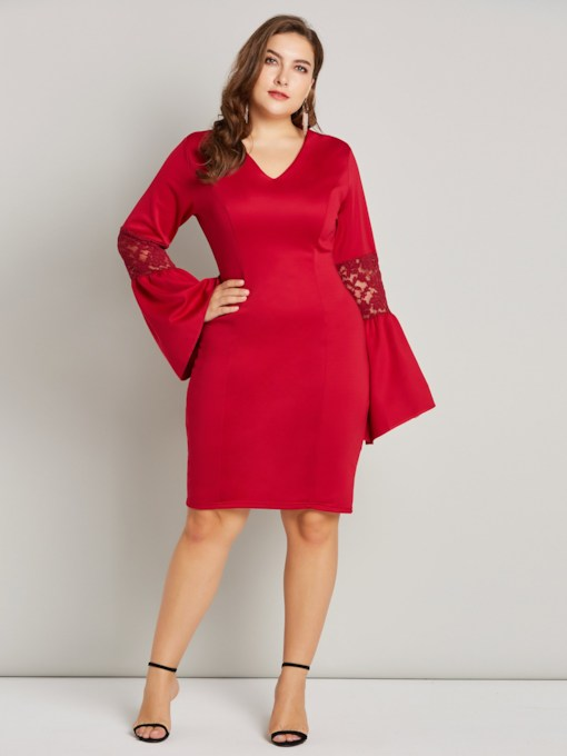 Flare Sleeve V-Neck Women's Lace Dress