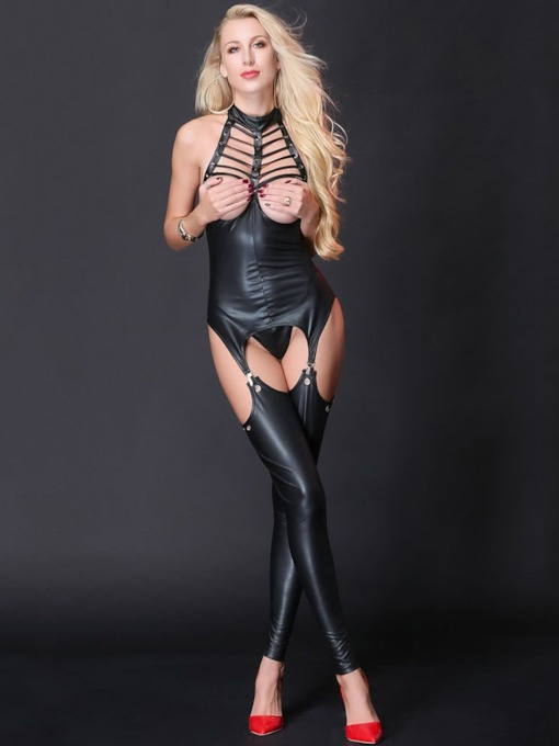 Clubwear Open Chest Hollow Lace-Up Sexy Patent Leather Bodysuit