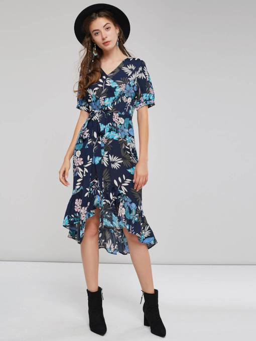 V-Neck Asymmetrical Short Sleeves Women's Day Dress