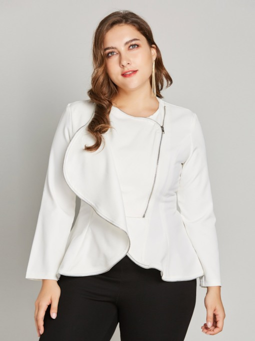 Plain Ruffle Zipper Up Plus Size Women's Jacket