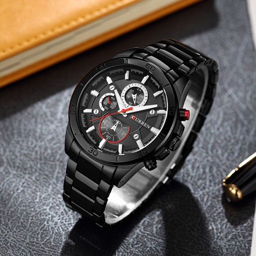 Analogue Display Glass Surface Stainless Steel Men's Watch