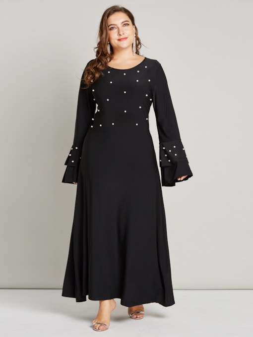 Plus Size Long Sleeves Bead Women's Maxi Dress
