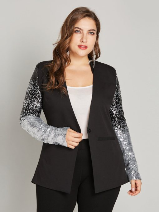 Sequins Plus Size Gradient Long Sleeve One ButtonWomen's Blazer