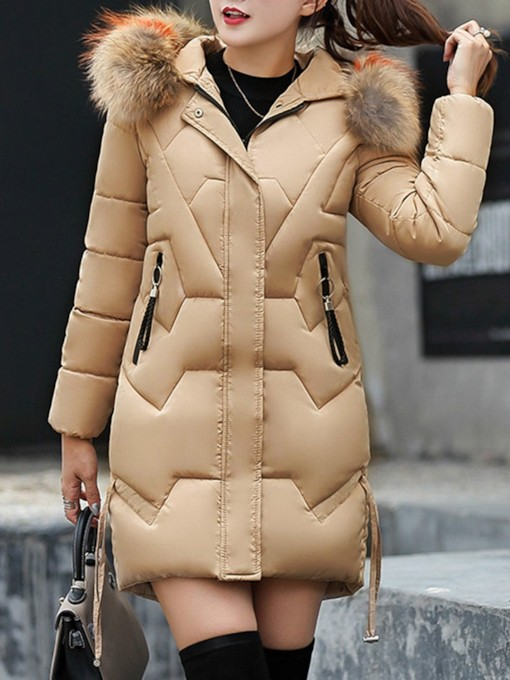 Faux Fur Thick Mid-Length Women's Cotton Padded Jacket