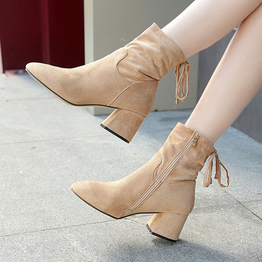 Suede Side Zipper Chunky Heel Lace-Up Plain Comfy Women's Ankle Boots