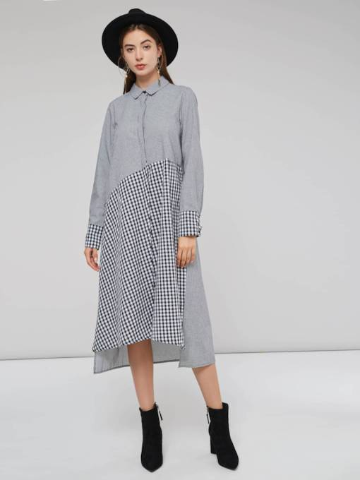 Polo Neck Hidden Button Plaid Women's Long Sleeve Dress
