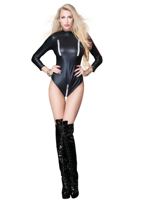 Plain Zipper Nine Points Sleeve Patent Leather Bodysuit