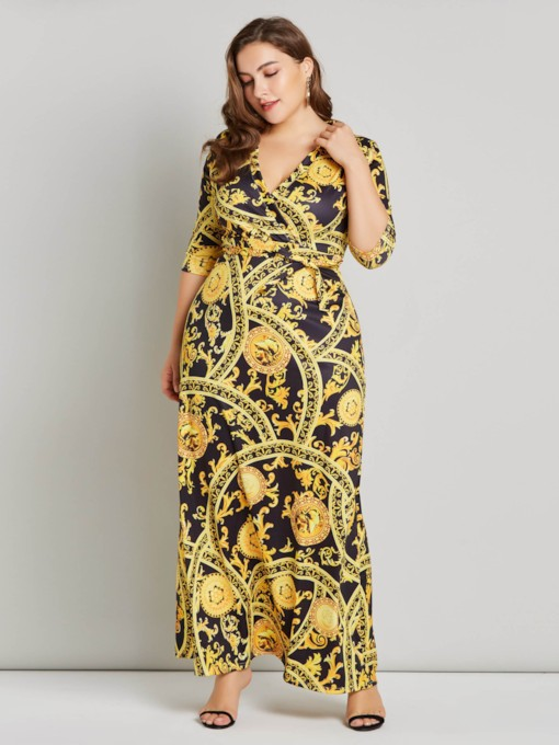 Plus Size Prints V-Neck 3/4 Length Sleeves Women's Maxi Dress