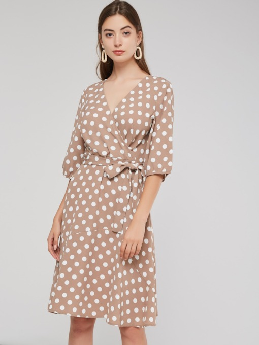 Vintage V-Neck 3/4 Length Sleeves Women's Day Dress