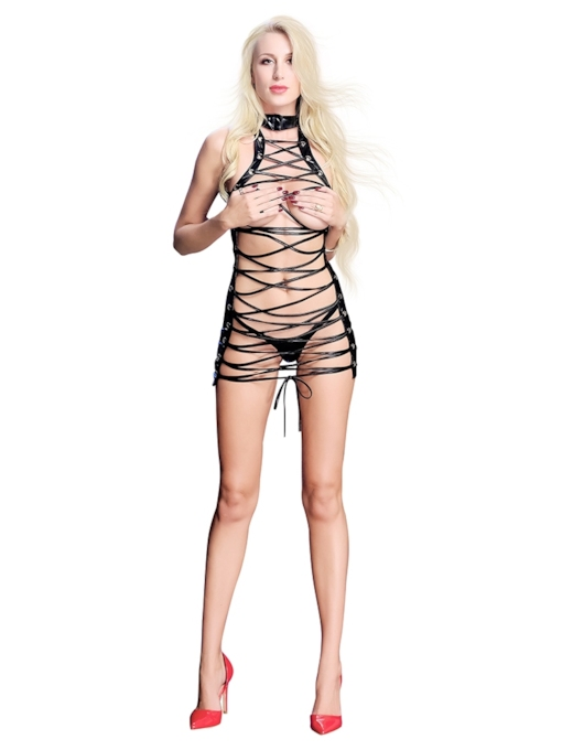 Leather Hollow Lace-Up Patent Leather Chemise