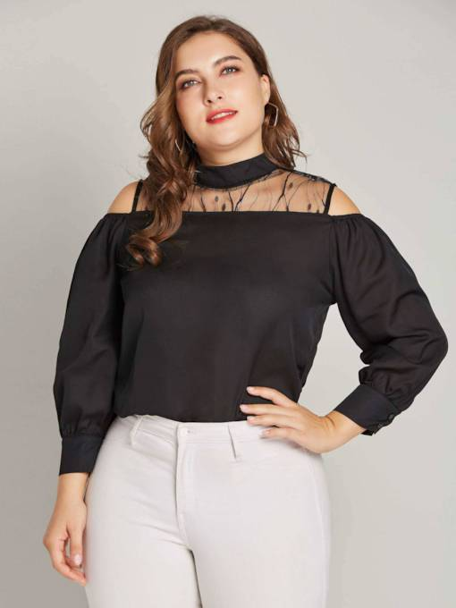 Mesh Patchwork Choker Plus Size Cold Shoulder Women's Blouse