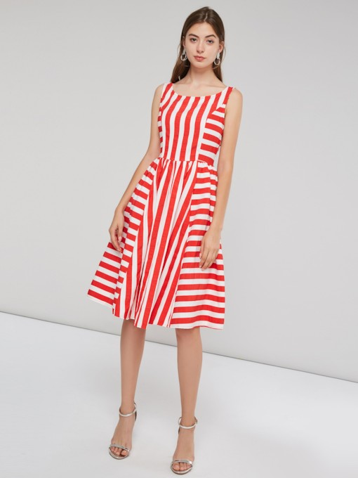 Stripe Sleeveless Pullover Women's Day Dress