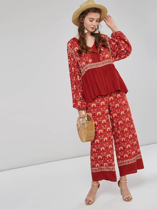 Ethnic Floral Color Block Women's Two Piece Set
