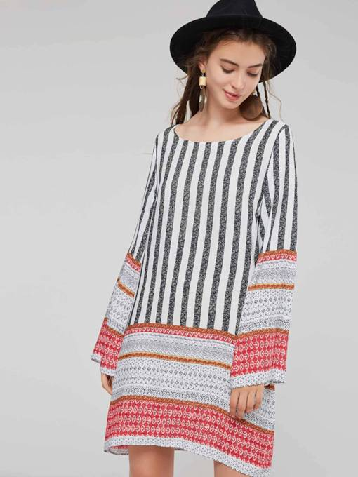 Stripe Prints Patchwork Women's Long Sleeve Dress