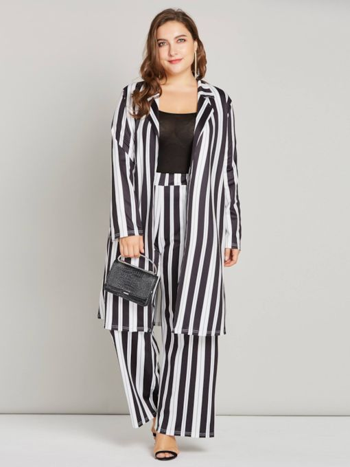 Stripe Lapel Color Block Blazer and Pants Women's Suit