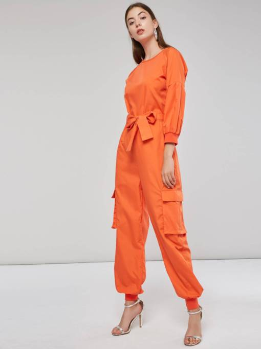 Neon Long Sleeve Pocket Bowknot Women's Jumpsuit