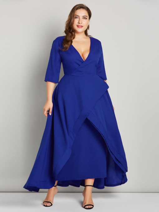 V-Neck Asymmetrical Half Sleeves Women's Maxi Dress